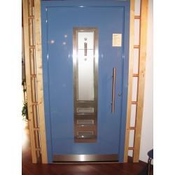 AKTION Haustüre Band rechts blau mit Glas und Alu