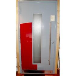 AKTION Haustüre Band rechts grau-rot, nach aussen öffnend